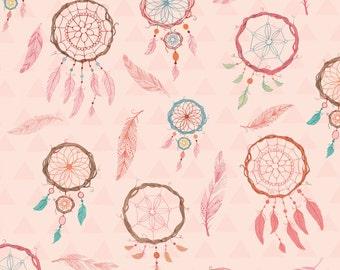 Pink Dream Catcher Fabric Yardage. Studio E. Native American Dreamcatcher Quilt Fabric. Children's Fabric. Nursery Fabric. Children's Decor.