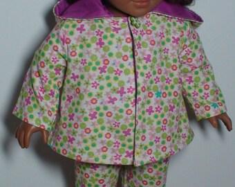 Spring jacket for AmG, Corduroy jacket for AmG, 18 inch doll jacket, Spring jacket with a hood for AmG, 18 inch doll flower jacket, jacket