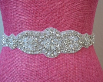 Crystal Rhinestone Bridal Belt on Satin Sash - Thick Bridal Belt - Wedding Accessories -  Rhinestone Belt - Bridal Sash - EYM B053
