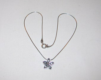 Vintage Signed Silpada Sterling Silver Daisy Flower Necklace