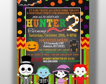 Monster mash Halloween Birthday party invitations, kids halloween birthday party invites, cute halloween invite, kids costume party INVHWN16