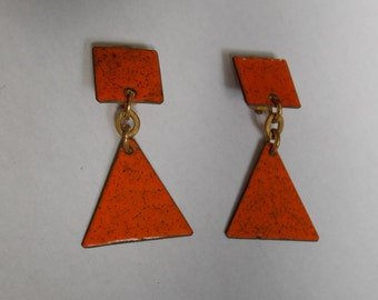 vintage retro clips 1970s orange enamel earrings