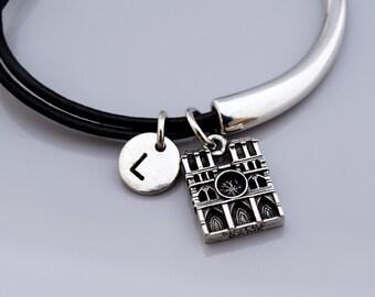 Nore Dame bracelet, Notre Dame de Paris, Notre Dame Cathedral Bangle, Expandable bangle, Paris France, Leather bracelet, Leather bangle