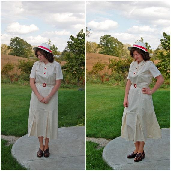 1930s Style Fashion Dresses 1930s-Style Art Deco Polka Dot Dress / Handmade Vintage-Style Dress / Depression Era / Retro / Size Large $95.00 AT vintagedancer.com