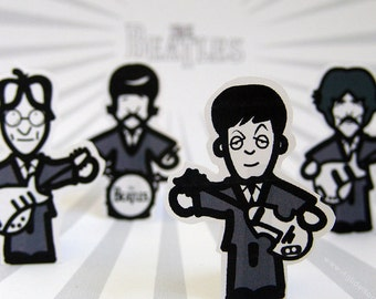 The Beatles paper toys, fab four stand up figurines, Beatles paper finger puppets, pocket Beatles, printable toys, instant download