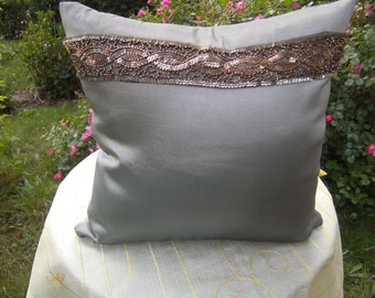 "green Pillow - Taftpillow - homedecor - decorative Pillow - 16""x16"" - Pillow with Border - Pillow with Jewel - handmade Pillow"