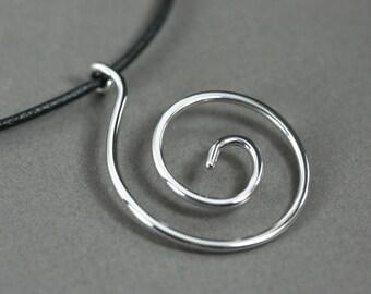 Antique polite spiral pendant, Sterling silver spiral pendant, Simple silver spiral pendant, Circle of life necklace, Antique silver spiral