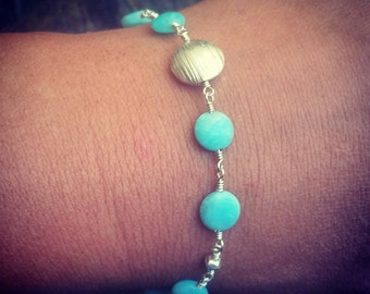 Amazonite and Bali Silver Sterling Silver Bracelet