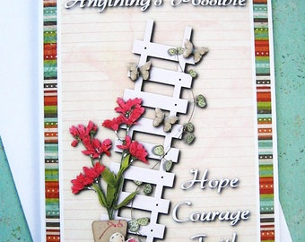 Anything's Possible Encouragement Card, Hope, Courage, Faith, Thinking of you, Friendship card, uplifting, bright, colorful, handmade card
