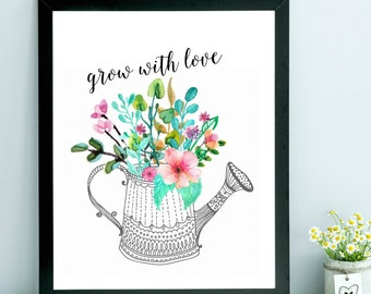 Grow With Love Farmhouse Country Cottage Trendy Bright Summer Shabby Chic Digital Print INSTANT DOWNLOAD
