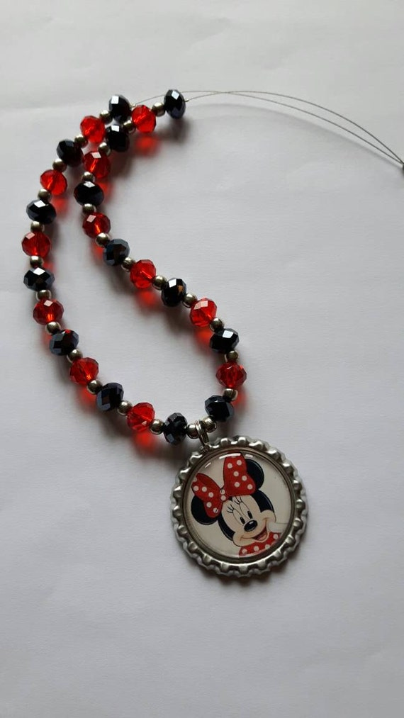 Disney Trip Minnie Mouse Beaded Necklace Bottle Cap Gift Girls
