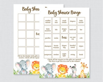 Safari Baby Shower Bingo Cards - Printable Blank Bingo Cards AND PreFilled Bingo Cards, Safari Animals Baby Shower Bingo Gender Neutral 0060