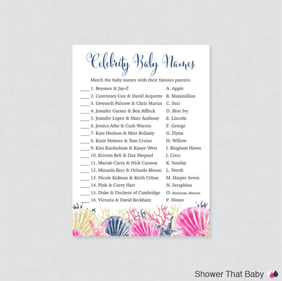 beach themed baby shower celebrity baby name game celebrity