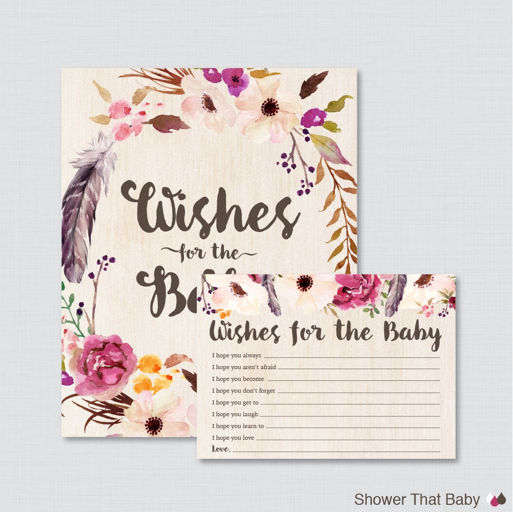 boho wishes for baby baby shower activity printable well