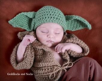 Baby Yoda hat, Star Wars Yoda, newborn yoda costume, Yoda inspired hat, newborn Halloween, newborn star wars, star wars costume