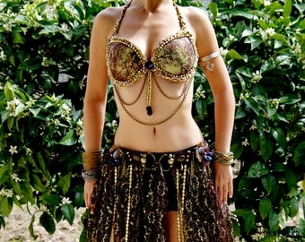 Belly Dancing Bra, Bellydance bra, Dance Bra, Festival Bra, Tribal Fusion Bra, Belly Dance Costume, Beaded Halter Top, Bellydance, Bra 34 C