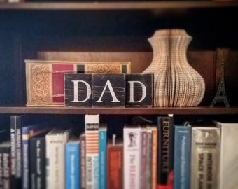 Dad Sign, Dad Blocks, Dad Wood Letter Blocks, Father's Day Decor, Father's Day Blocks, Dad, Wooden Letter Blocks for Fathers Day