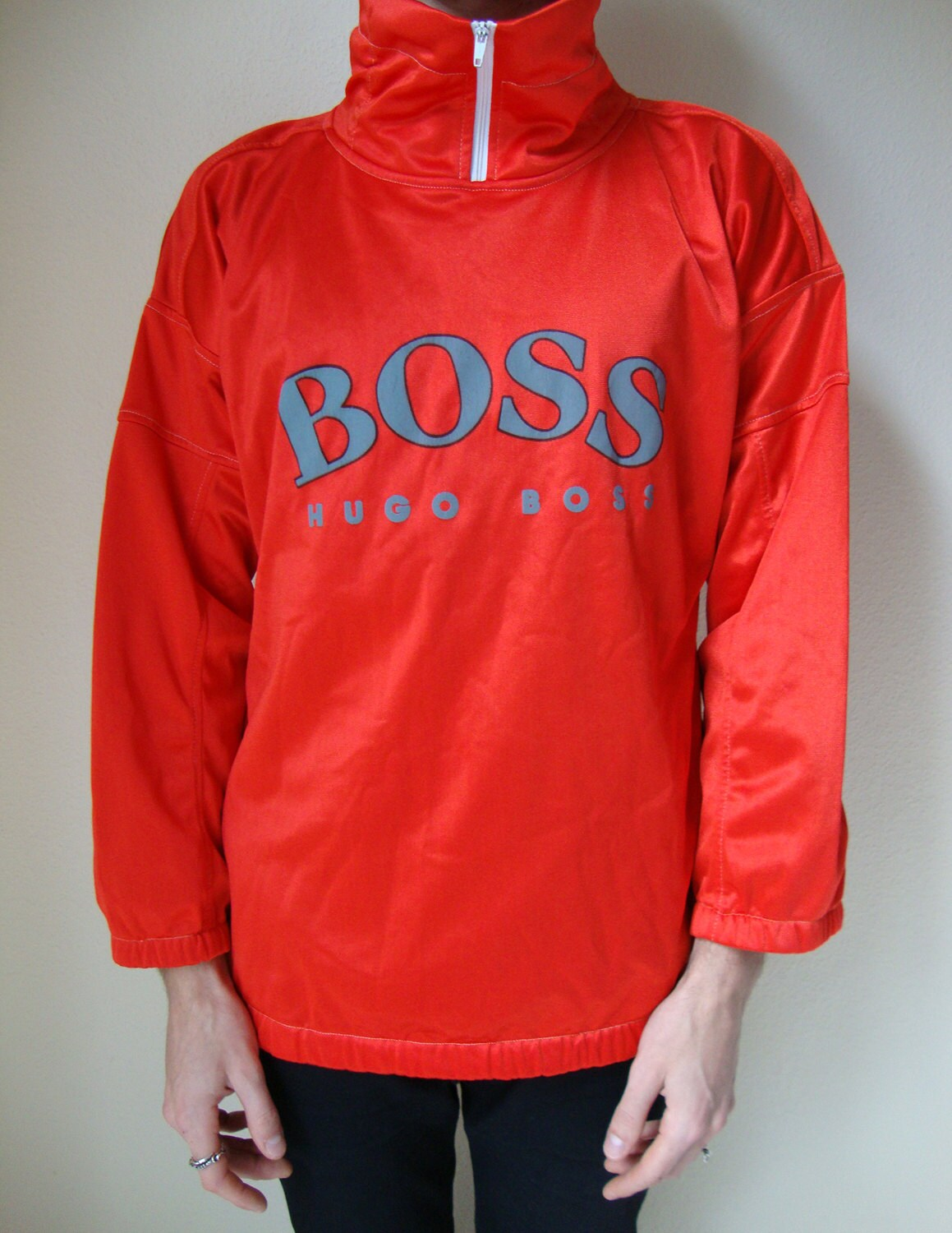 hugo boss sweater 80s 90s red jumper pullover winter. Black Bedroom Furniture Sets. Home Design Ideas