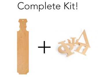 Greek Sorority / Fraternity Paddle Kit - Includes Wooden Paddle and 3 Letters of Your Choice