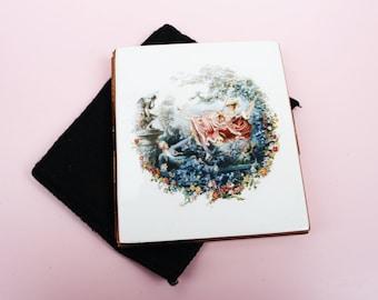 Cigarette Case, Kigu Cigarette Case, Business Card Holder, Card Case, Metal Tin, Artwork, Reproduction, The Swing, Handbag Accessory - 1970s
