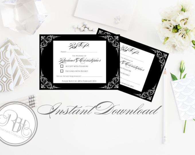 "Black & White RSVP Template - INSTANT DOWNLOAD-Text Editable-Pdf File-Elegant Black White Design - ""Samantha Reply Cards"""