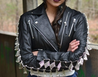 Cropped Motorcycle Jacket with Safety Pins