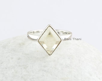 Gemstone Ring, Lemon Quartz 8x11 mm Diamond Cut, Bezel Ring, handmade Gemstone Sterling Silver Ring, Rings for Women