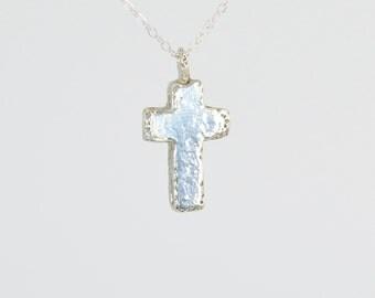 Silver Cross, Solid Silver Cross, Rustic Cross, Cross Necklace, Bohemian Cross, Small Silver Cross, Unisex Cross,  Sterling Silver Cross