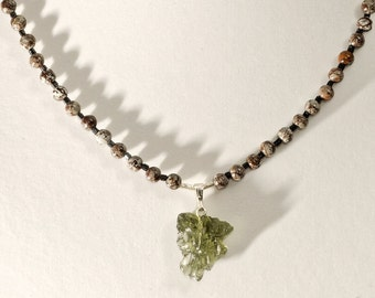 Moldavite Pendant, Men's Snowflake Obsidian Necklace, Astronomy Stardust Space Science Nerd Jewelry, Anniversary Birthday Gift for Him