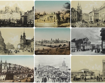 Warsaw in the Graphic Arts - Set of 9 Vintage Polish Postcards in original cover - 1965, Warsaw