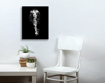 Black and White Art, Jellyfish, jelly fish print, ink painting, ink drawing, underwater art ocean art, 18x24, 5x7 modern, Canvas Print, 8x10