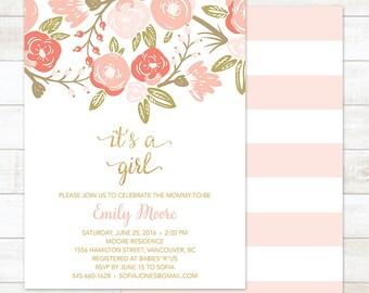 Baby Girl Shower Invitation, Floral Pink Gold It's a Girl Baby Shower Invitation, Baby Shower Invitation, Gold Baby Shower Digital Invite