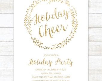 gold holiday party invitation printable wreath white gold glitter christmas party invitation card digital invite customizable