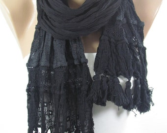 Tassel Scarf Black Scarf Cowl Scarf Boho Scarf Women Fashion Accessories Holiday Fashion Fall Winter Spring scarf Christmas Gifts For Her