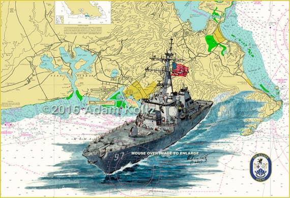 High Quality Halsey Hqhaisey: USS Halsey DDG-97 Arleigh Burke-Class Destroyer Watercolor