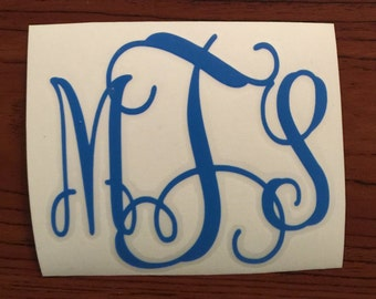Vine Monogram Decal - 3.5 inch