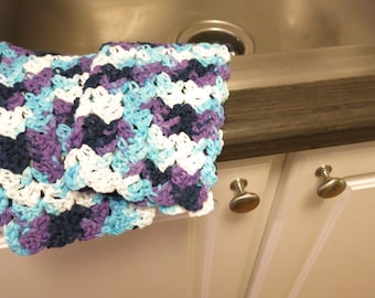 Crochet Dish Cloth Set in Purple and Blue