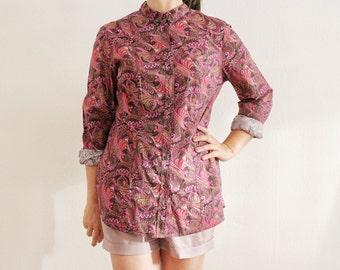 90s magenta paisley shirt / androgynous boyfriend / 0039 italy