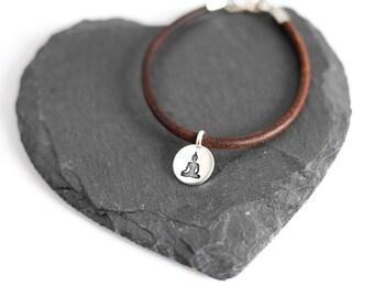 Meditation-Leder-Armband; Yoga, braun, Silber, Schmuck, Buddha, Valentinstag, Festival, Geschenke für sie, Yogi, Tag, Boho, Muttertag