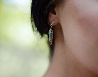Little Feather Earrings with Faux Turquoise - Silver Tribal Feather Stud Earrings - Boho Tiny Feather Studs - Small Festival Feather Earring