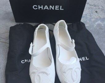 authentic chanel cambon flats vintage Mary Jane 36.5 ballet flats white summer