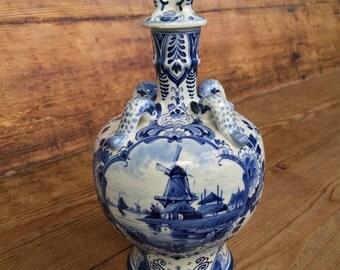 Rare 1901 Delft Delftware Blue Porceleyne Fles Bottle Kruikje Dolfijn