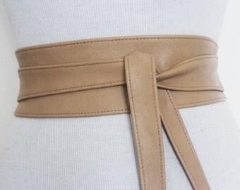 Tan Leather Obi Belt l Obi Corset Belt | Sash Tie Belt | Waist Belt | Corset Belt | Plus size belts