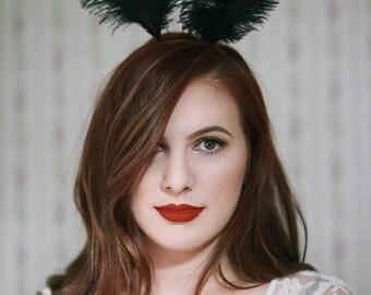 Black Feather Bunny Ears headband