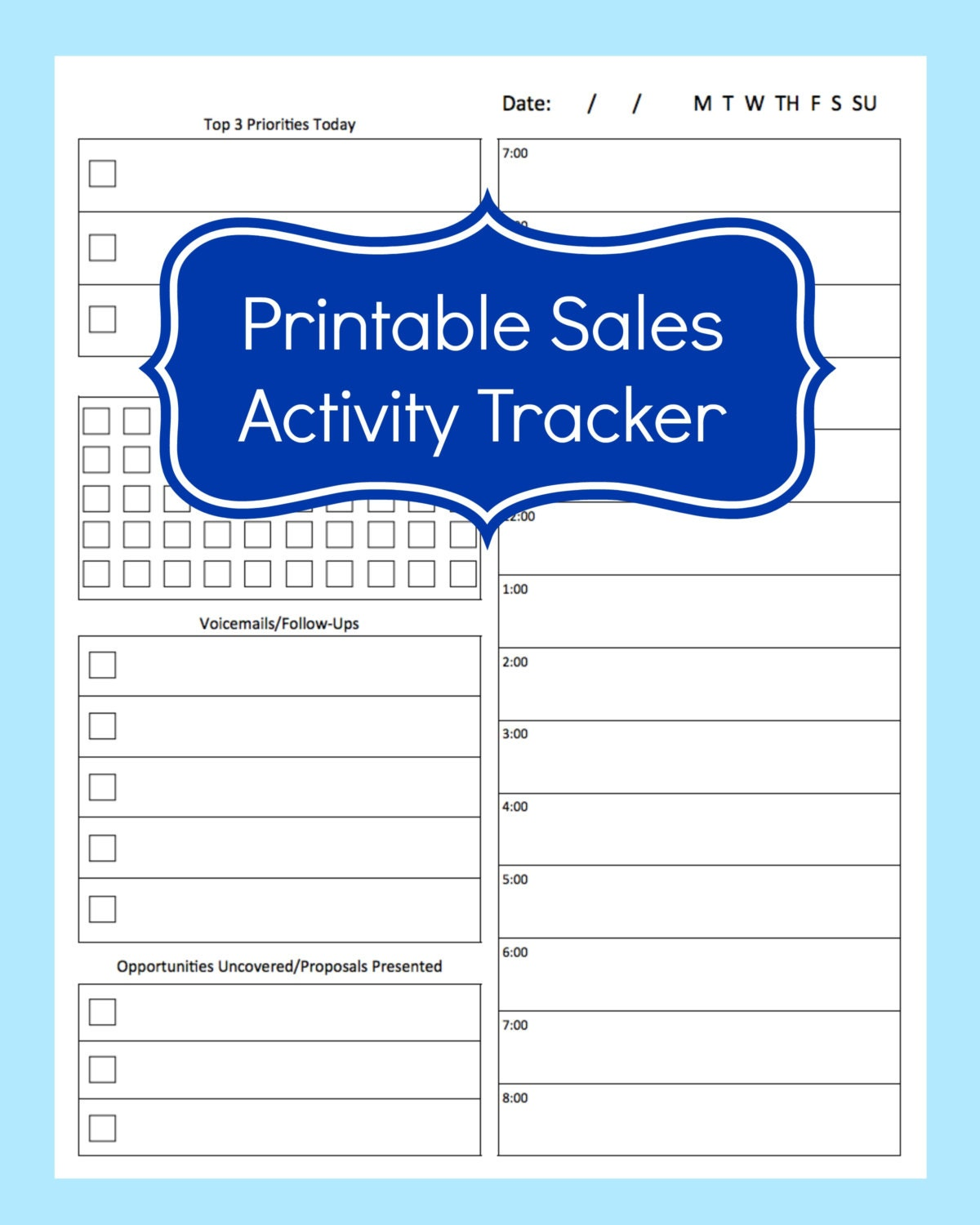 sales activity tracker daily planner cold call tracker. Black Bedroom Furniture Sets. Home Design Ideas