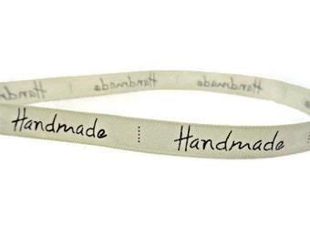 ribbon with handmade, yard cream ribbon,sewing labels, sewing supplies, clothes labels, clothes tags, uk ribbon supplies,