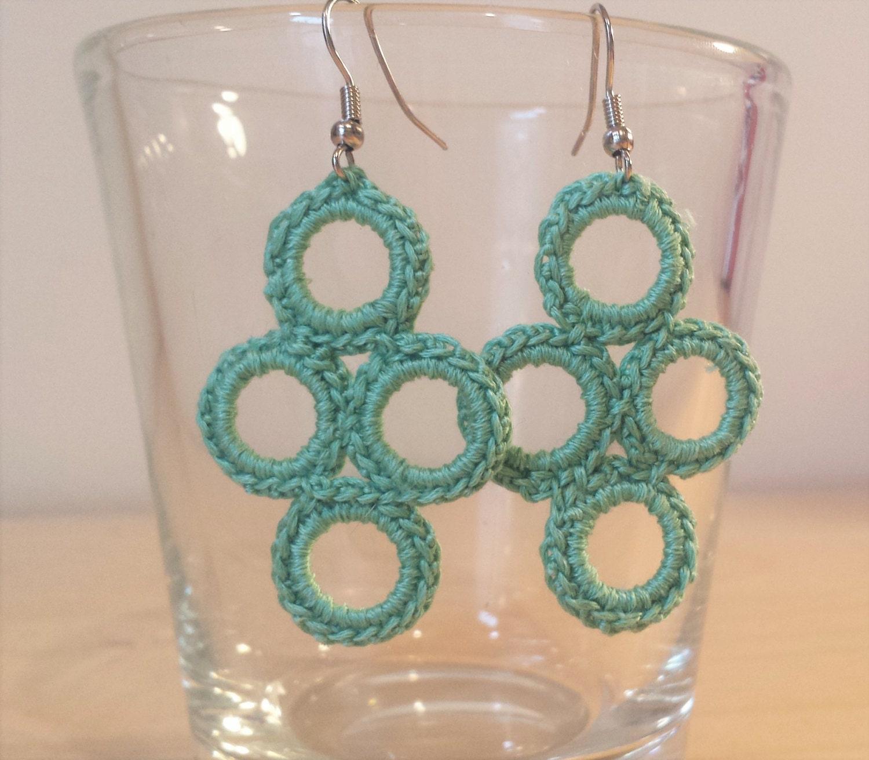 Crochet Hook Earrings: Mint Green Crochet Thread Dangle Hook Earrings