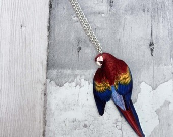 Scarlet Macaw Bird Parrot Necklace
