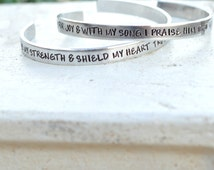 Hand Stamped Prayer Cuff- Bible Verse Prayer Jewelry- Custom Christian Prayer Bracelet- Psalms Jewelry- Psalm 28:7- The Lord is my Strength
