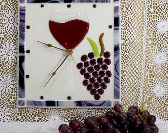 Wall Clock Handmade Fused Glass with glass of red wine and grape